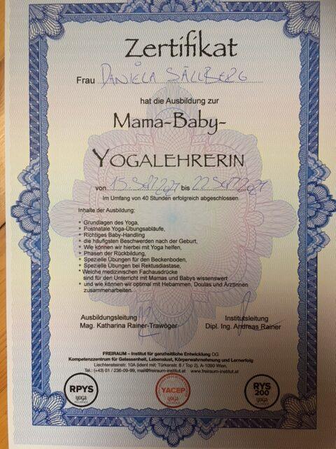 Zertifikat  Mama-Baby-Yogalehrerin